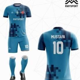 Mavi Lacivert Yeni Sezon Futbol Halı Saha Forması arka Görünüşü
