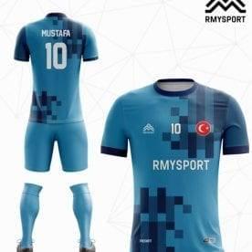 Mavi Lacivert Yeni Sezon Futbol Halı Saha Forması ön ve arka Görünüşü