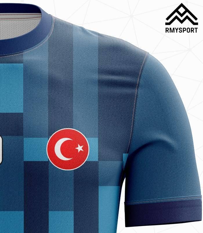 Mavi Lacivert Yeni Sezon Futbol Halı Saha Forması Kumaş Görüntüsü