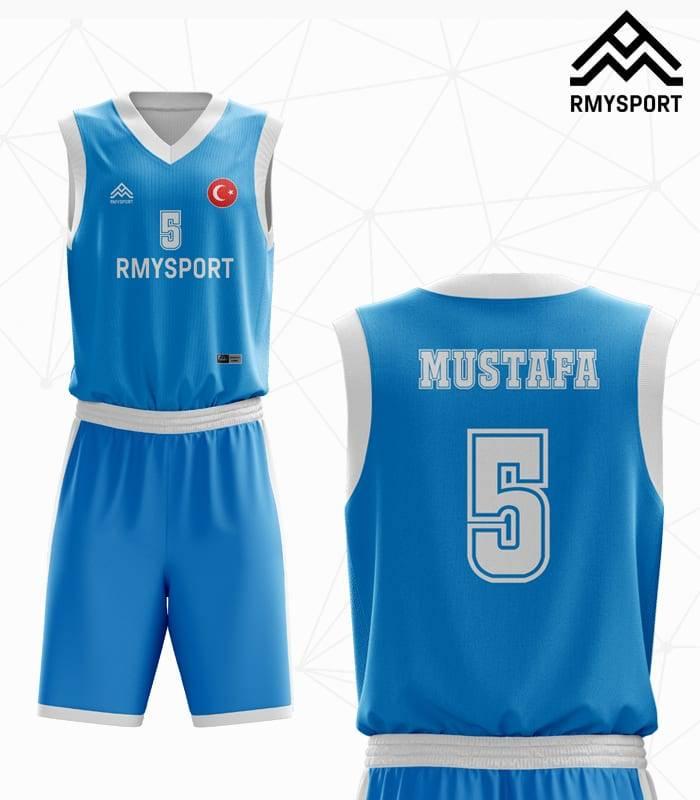 Mavi Beyaz Basketbol Forması Arka Ön