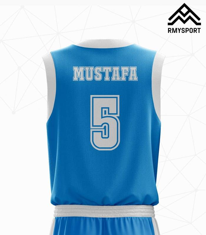 Mavi Beyaz Basketbol Forması Arka