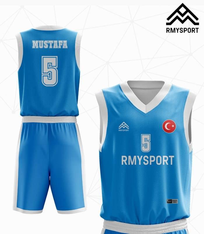 Mavi Beyaz Basketbol Forması Ön arka